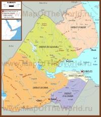 Подробная политическая карта Джибути