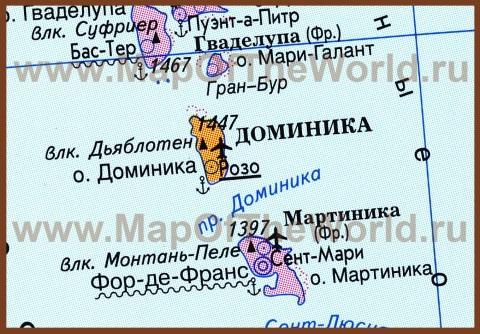 Карта острова Доминика на русском языке