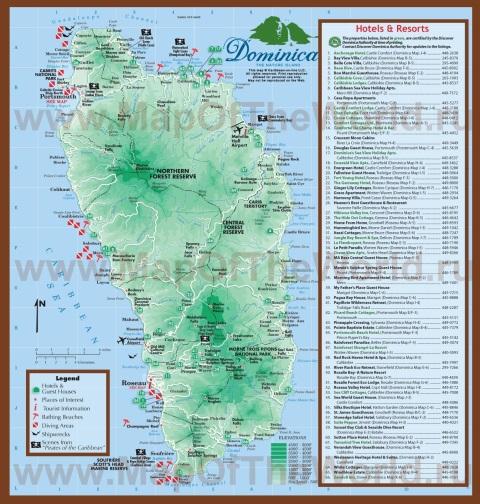 Подробная туристическая карта Доминики с отелями