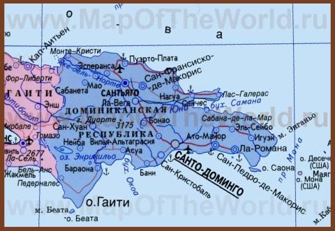 Политическая карта Доминиканы на русском языке