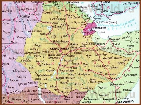 Карта Эфиопии на русском языке