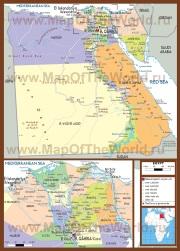 Подробная политическая карта Египта с городами