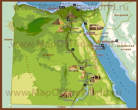 Туристическая карта Египта с достопримечательностями