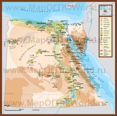 Карта египта с курортами