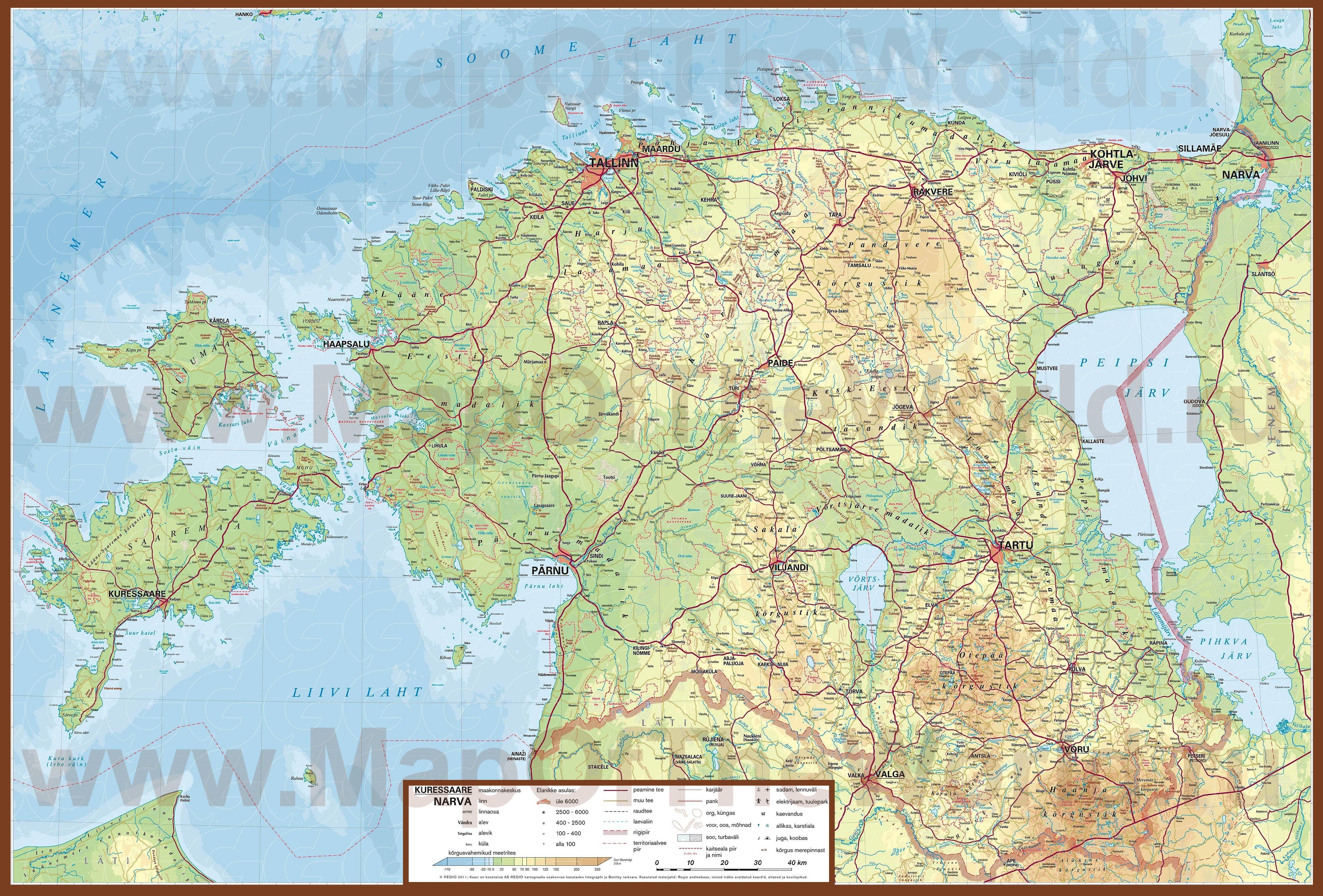 Подробная карта эстонии с городами