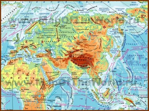 Физическая карта Евразии