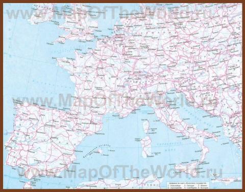 Автомобильная карта дорог Европы