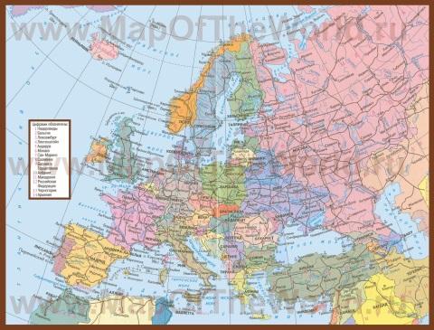 Политическая карта Европы со странами