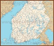 Подробная карта Финляндии с городами