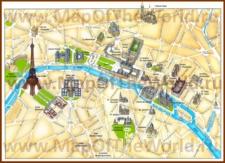 Карта центра Парижа с достопримечательностями