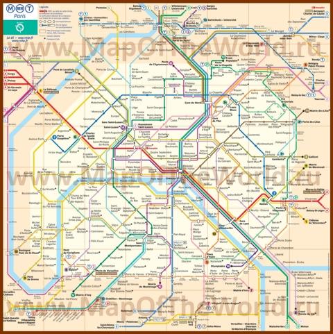 Схема метро Парижа
