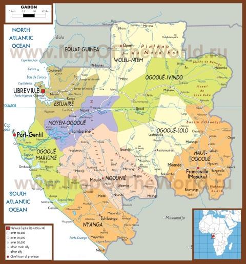 Подробная политическая карта Габона