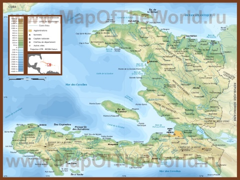 Подробная карта Гаити