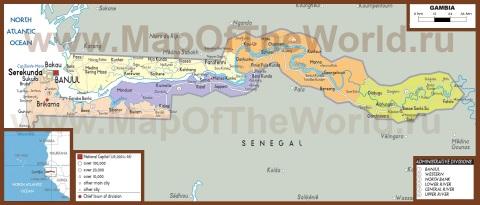 Подробная политическая карта Гамбии