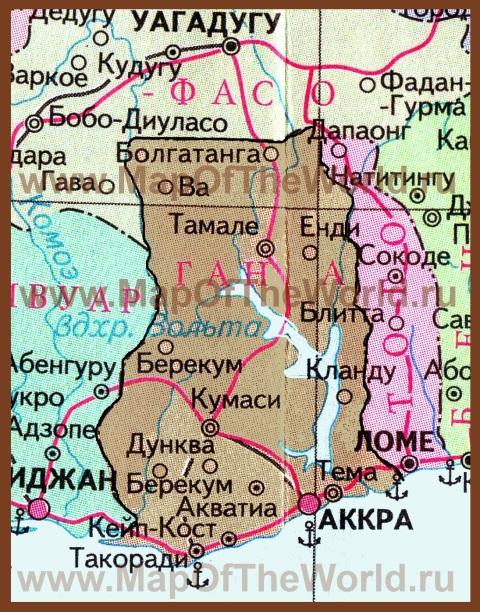 Карта Ганы на русском языке