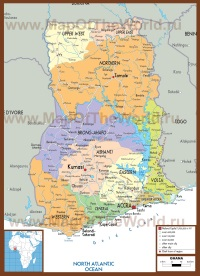 Подробная политическая карта Ганы