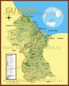 Подробная туристическая карта Гайаны