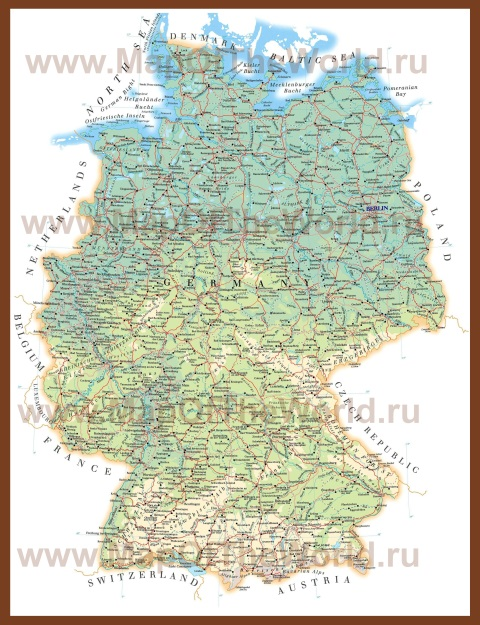Физическая карта Германии на немецком языке