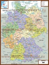 Политическая карта Германии с городами