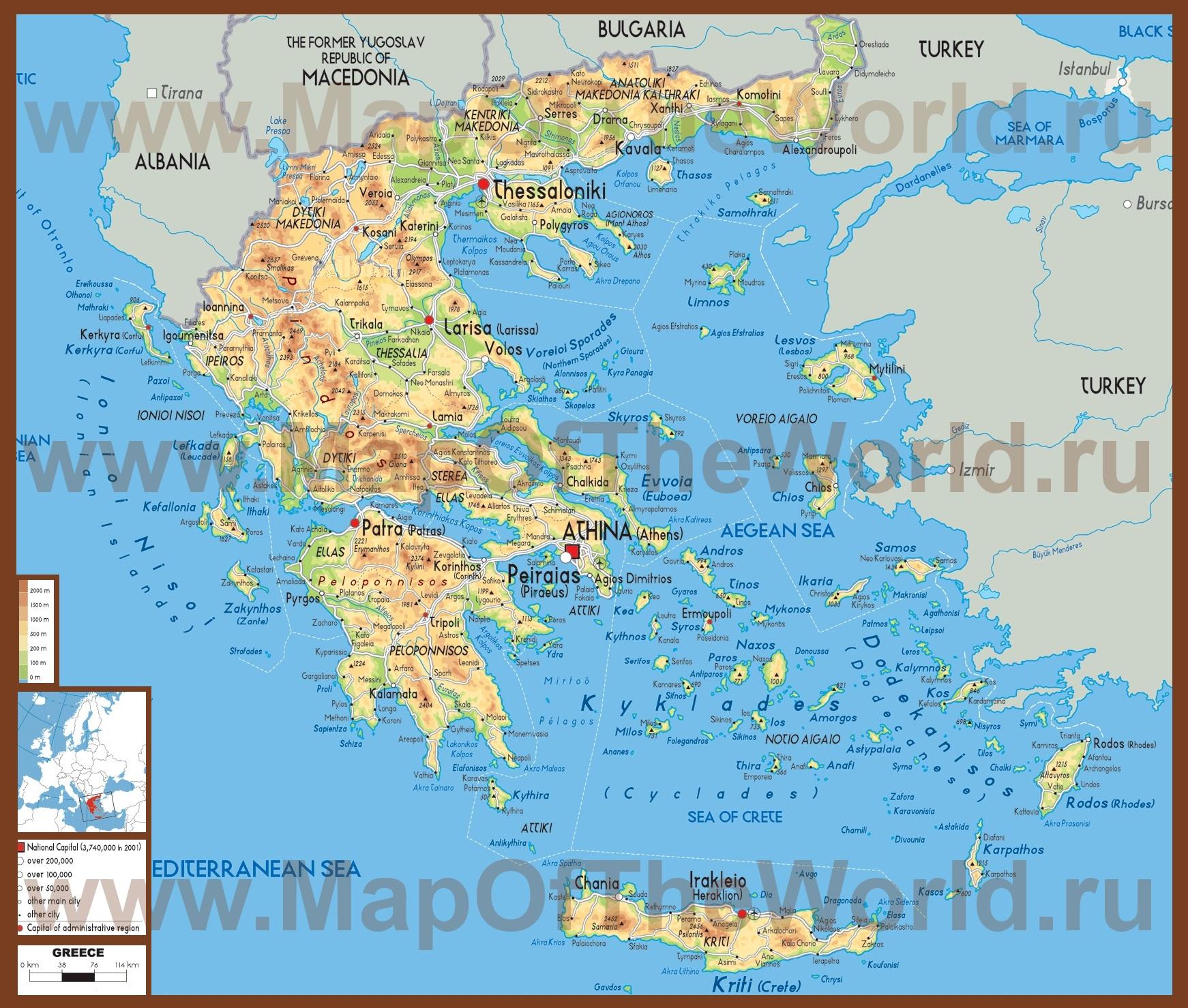 Физическая карта греции