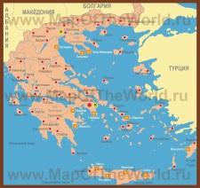 Карта Греции с островами и курортами
