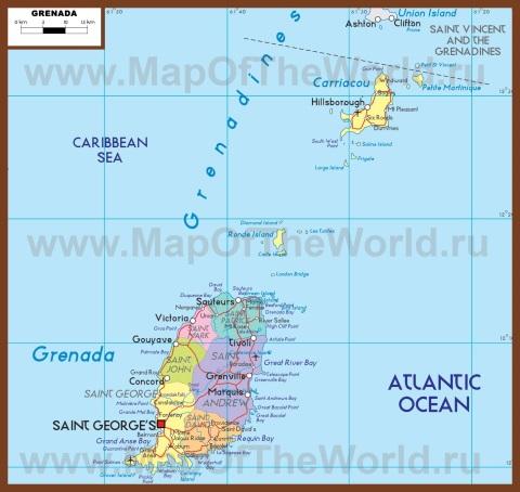 Подробная политическая карта Гренады