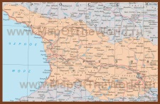 Подробная карта Грузии на руском языке