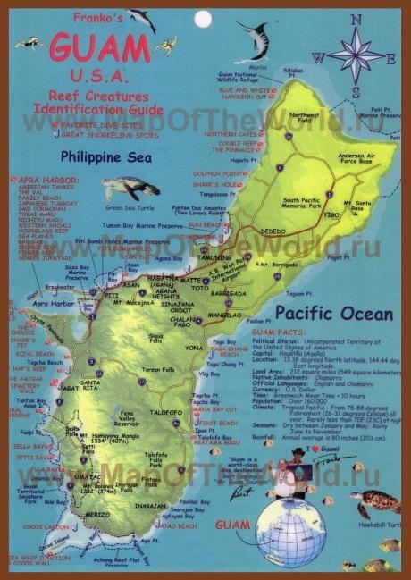 Подробная туристическая карта острова Гуам