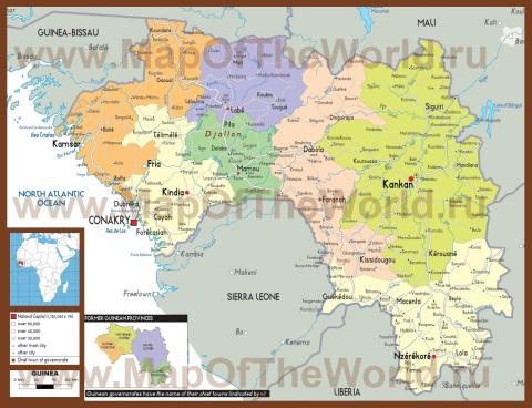 Подробная политическая карта Гвинейской республики