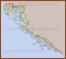 Карта побережья Хорватии