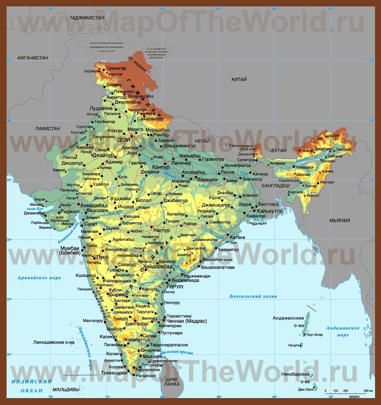Karty Indii Podrobnye Karty Indii Na Russkom Yazyke S Gorodami
