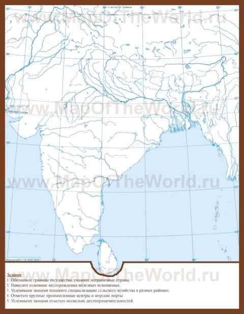 Контурная карта Индии