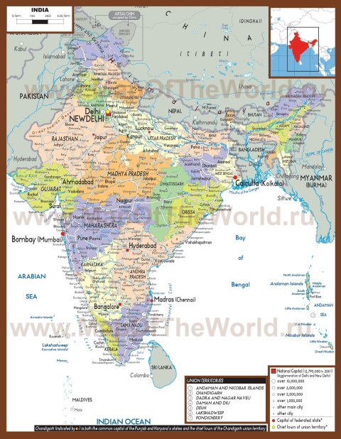 Политическая карта Индии со штатами