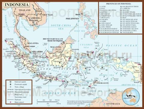 Подробная карта Индонезии