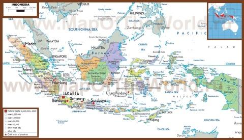 Политическая карта Индонезии с островами