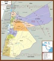 Подробная политическая карта Иордании