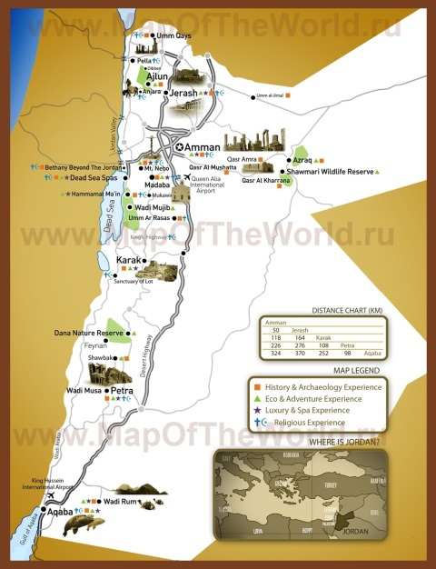 Туристическая карта Иордании с достопримечательностями
