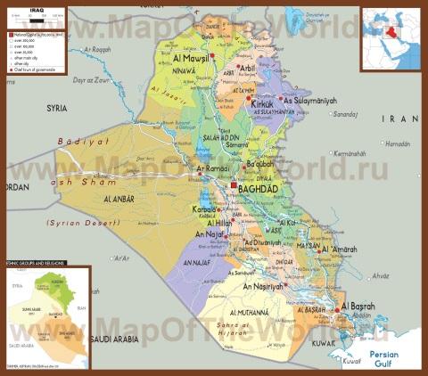 Политическая карта Ирака