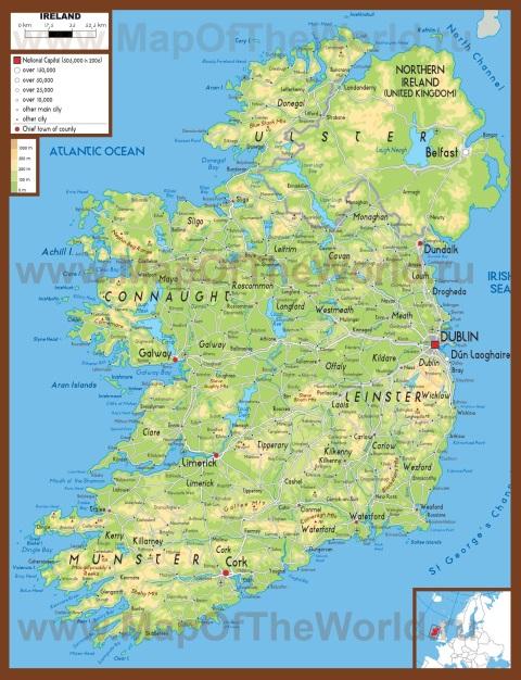 Физическая карта Ирландии