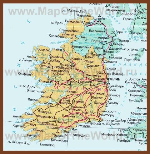 Карта Ирландии на русском языке