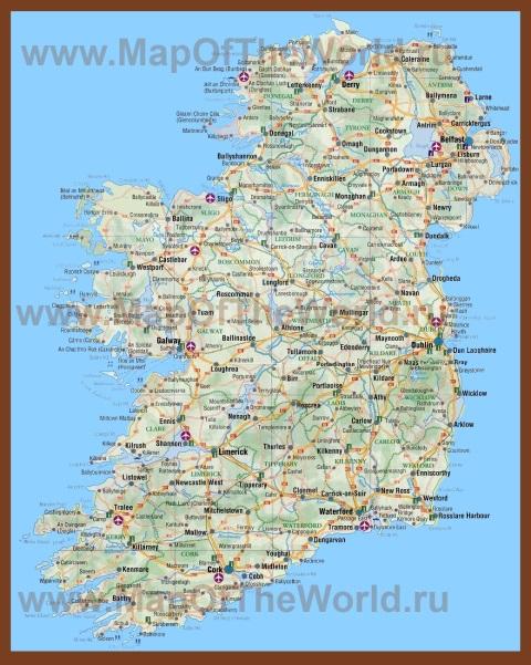 Подробная карта острова Ирландия