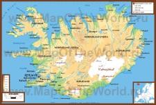 Физическая карта Исландии