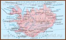 Карта Исландии на русском языке