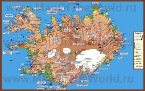 Подробная карта Исландии с достопримечательностями и гейзерами