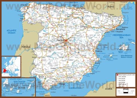 Автомобильная карта дорог Испании