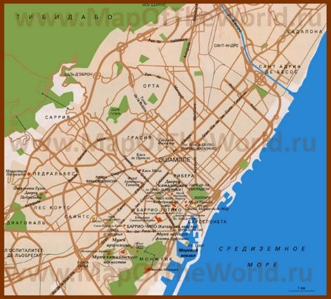 Карта Барселоны на русском языке с районами