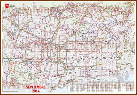 Карта маршрутов автобусов Барселоны
