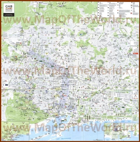 Туристическая карта Барселоны с побережьем, отелями и достопримечательностями