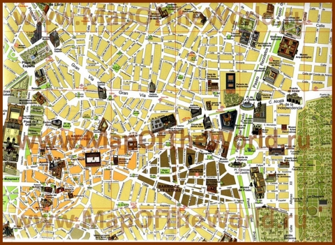 Карта центра Мадрида с достопримечательностями