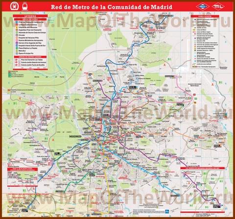 Карта метро Мадрида с пригородами